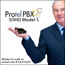 Don't let the super small size of the Protel SOHO Model S fool you!  This SIP based Premise PBX by NexMatrix has all the features and functionality of the larger PBX Models