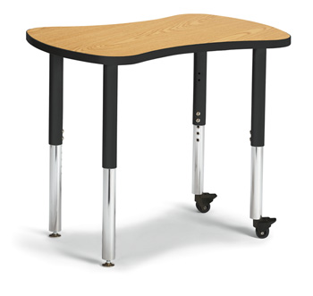"6310JCS210 - Berries® Collaborative Bowtie Table - 24"" X 35"" - Oak/Black"