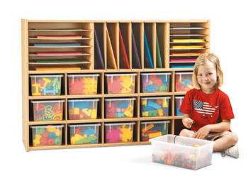 7032YT441 - Young Time® Sectional Cubbie Storage - with Clear Trays